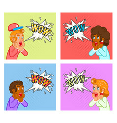 open mouth surprised customer male female vector image