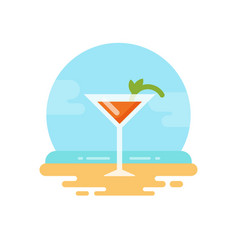 orange cocktail with mint on the beach flat icon vector image