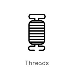 Outline threads icon isolated black simple line vector