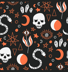 Pattern mystical witchcraft alchemy symbols vector