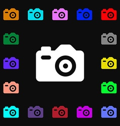 Photo Camera icon sign Lots of colorful symbols vector image