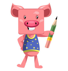 pig with pen on white background vector image