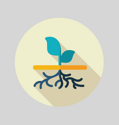 plant with roots flat icon garden vector image