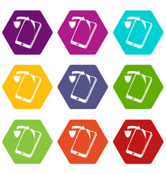 protection replacement screen smartphone icons set vector image