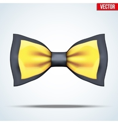Realistic black and gold bow tie vector image