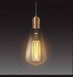 Realistic light bulbs vintage lamp hanging on vector