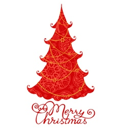 Red Christmas tree isolated on white background vector image