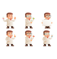 retro 3d scientist young cute test-tube icons set vector image