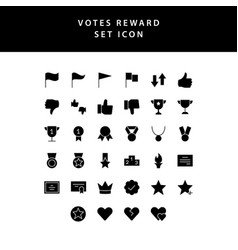 reward and votes glyph style icon set vector image