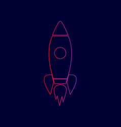 rocket sign line icon with vector image