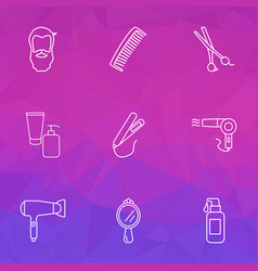 Salon icons line style set with hand mirror face vector