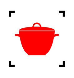 saucepan simple sign red icon inside vector image