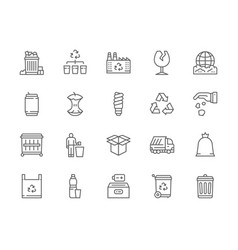Set garbage line icons dumpster beer can vector