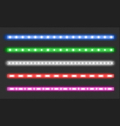 set led strips with neon glow effect vector image
