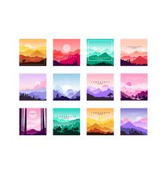 set minimalistic flat original landscapes vector image