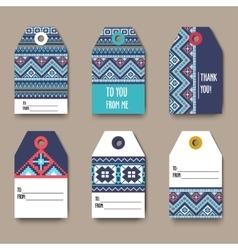 Set of geometric tribal colorful tags with Aztec vector image