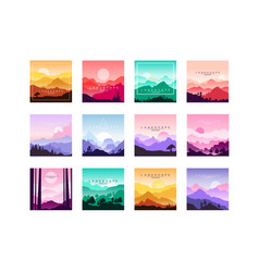 set of minimalistic flat original landscapes vector image