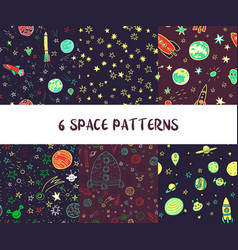 Set of pace seamless patterns vector