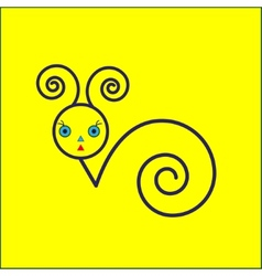 Snail icon on yellow background vector image