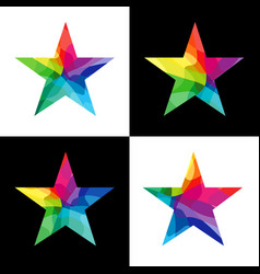 star colorful facet collection vector image