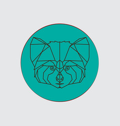 stylized geometric animal head red panda vector image