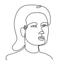 surprised woman one line art portrait vector image