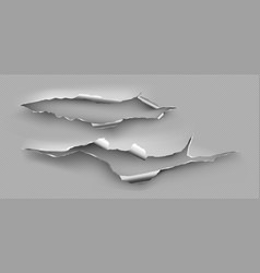 torn hole ragged crack in steel sheet vector image