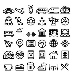 travel line icons set transport holidays vector image