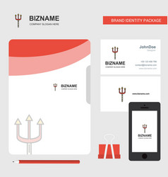 Trident business logo file cover visiting card vector