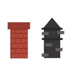 Two old red brown brick chimney roof architecture vector