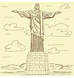 vintage of famous tourist destination Christ the vector image