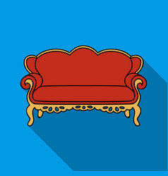 vintage sofa icon in flat style isolated on white vector image