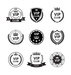 vip labels and badges with ribbon and crown set vector image