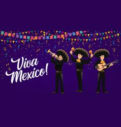 viva mexico banner with mexican mariachi musicians vector image