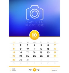 Wall Calendar Template for 2017 Year October vector