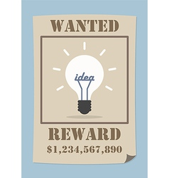 Wanted poster with light bulb idea vector image