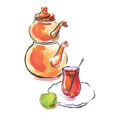 Watercolor turkish tea with turkish kettle vector