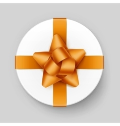 White Gift Box with Yellow Golden Bow and Ribbon vector