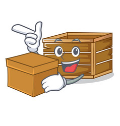 With box crate character cartoon style vector
