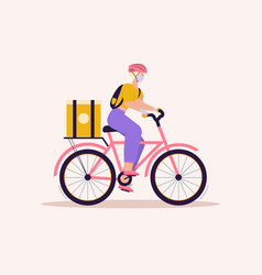 woman courier with package on bicycle contactless vector image