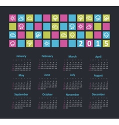 Calendar 2015 year with weather icons vector image