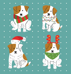 christmas cute white dogs with brown spots vector image vector image