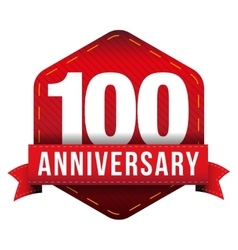 Hundred year anniversary badge with red ribbon vector image vector image