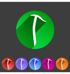 Ice axe icon flat web sign symbol logo label vector image vector image