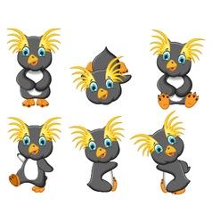 king penguins cartoon set character vector image
