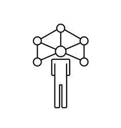 Line people global connection to social network vector