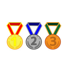 medal set with ribbon 504 vector image