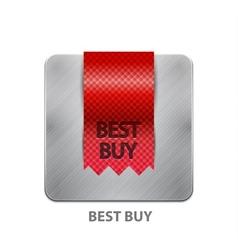 Red ribbon mobile app button vector image vector image