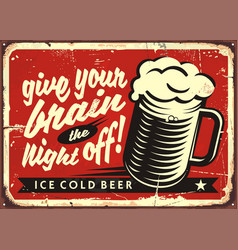 vintage with beer glass vector image vector image