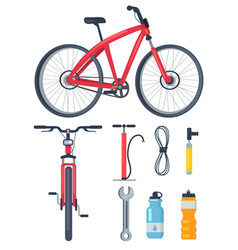 bicycle side and front view metal wrench icons set vector image vector image